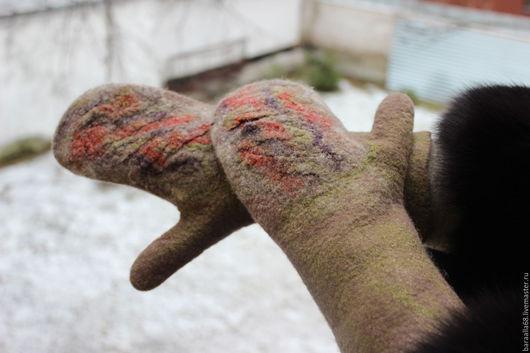 Варежки, митенки, перчатки ручной работы. Ярмарка Мастеров - ручная работа. Купить Валяные варежки. Handmade. Коричневый, подарок женщине