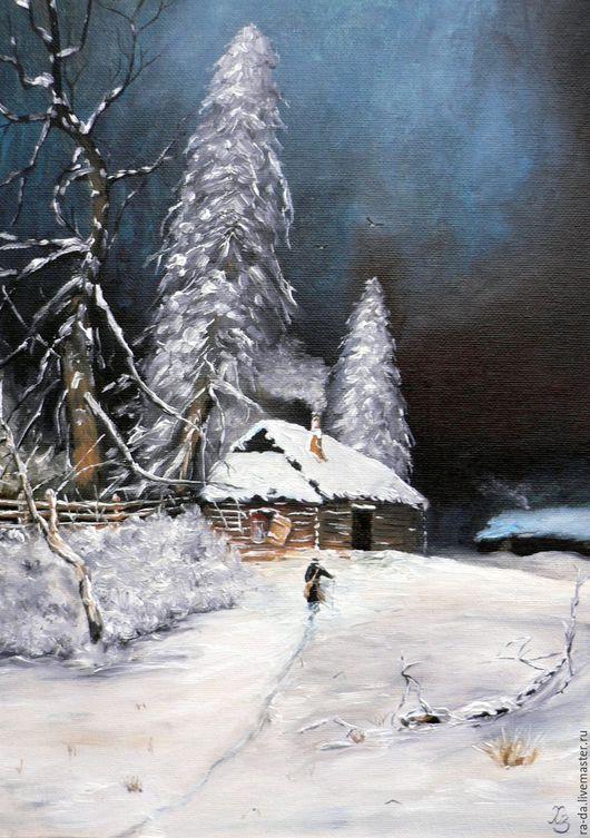 """Пейзаж ручной работы. Ярмарка Мастеров - ручная работа. Купить Картина """"Рождественская ночь"""" по мотивам Клевера. Handmade. Комбинированный"""