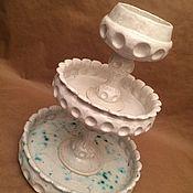 Посуда ручной работы. Ярмарка Мастеров - ручная работа Керамическое Блюдо для фруктов трехъярусное классическое. Handmade.