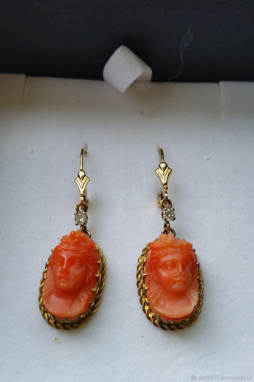 23f227836f6a Adornos vintage. Livemaster - hecho a mano. Comprar Pendientes de oro con  diamantes y ...