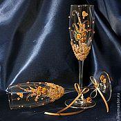 """Свадебный салон ручной работы. Ярмарка Мастеров - ручная работа Бокалы """"Магия золота"""". Handmade."""