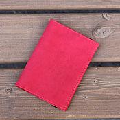 Канцелярские товары ручной работы. Ярмарка Мастеров - ручная работа Обложка для паспорта красный нубук натуральная кожа. Handmade.
