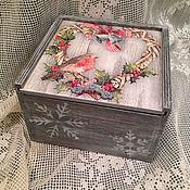 Для дома и интерьера ручной работы. Ярмарка Мастеров - ручная работа новогодняя шкатулка короб для хранения подарков подарок(декупаж). Handmade.