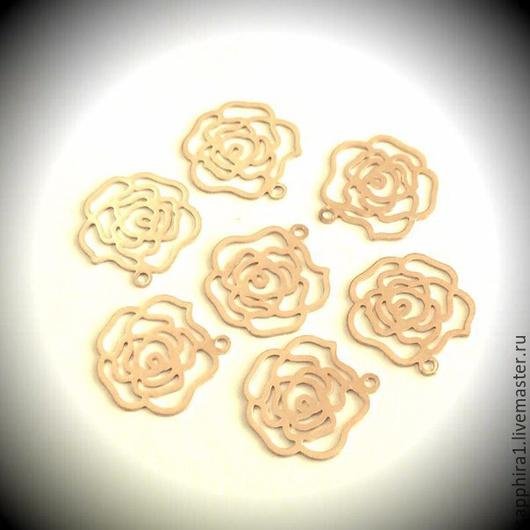 Для украшений ручной работы. Ярмарка Мастеров - ручная работа. Купить Подвеска Роза mini матовая позолота. Handmade. Золотой
