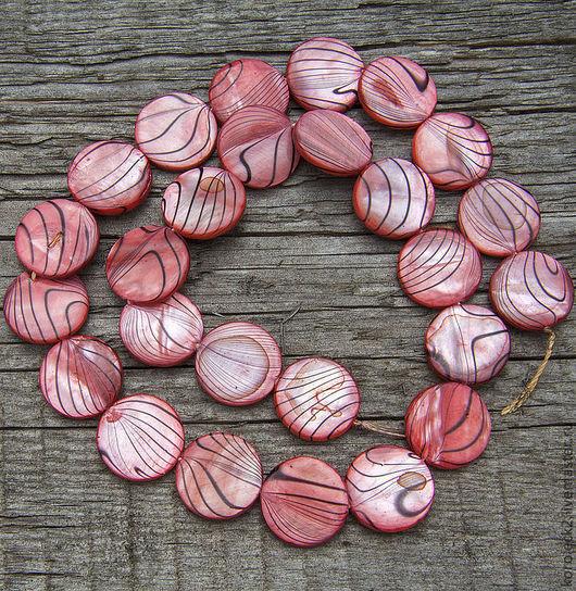 Для украшений ручной работы. Ярмарка Мастеров - ручная работа. Купить Диски из раковин цвета розового фламинго с полосками, 15 мм. Handmade.