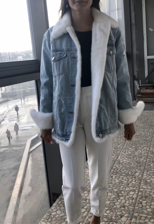 Джинсовая куртка с мехом норки, Куртки, Санкт-Петербург,  Фото №1