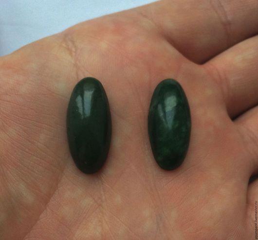 Для украшений ручной работы. Ярмарка Мастеров - ручная работа. Купить Пара красивых кабошонов из зеленого нефрита: размер 25х12х7 мм. Handmade.
