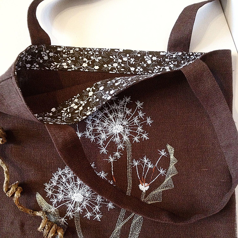 """Льняная сумка-мешок с машинной вышивкой """"Одуванчики"""""""