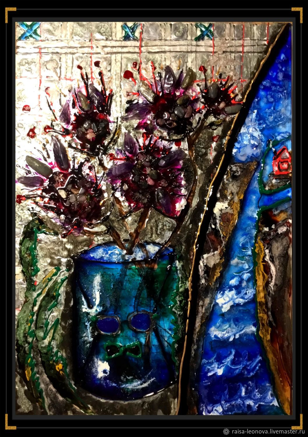 Paintings: painting on glass with mosaic made of natural stones, Pictures, Sopot,  Фото №1