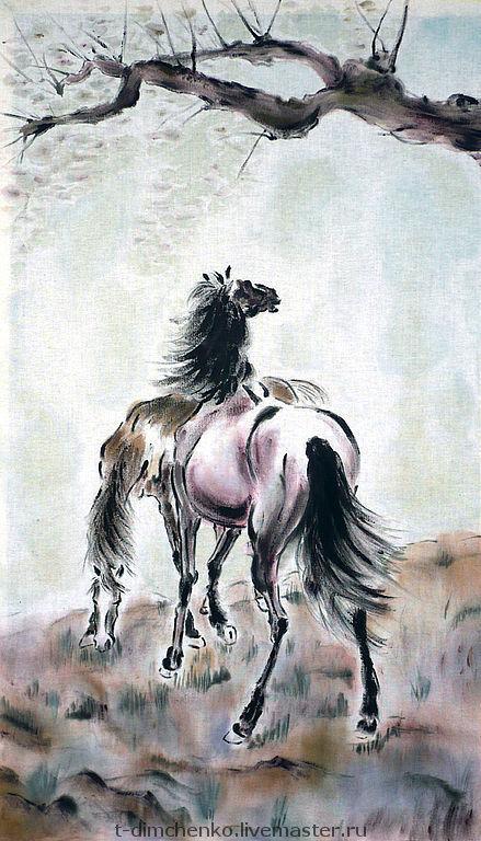 """Животные ручной работы. Ярмарка Мастеров - ручная работа. Купить Картина на хлопке """"Кони"""". Handmade. Кони, картина, утро"""