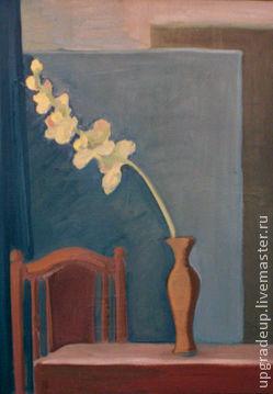 Натюрморт ручной работы. Ярмарка Мастеров - ручная работа. Купить Натюрморт с желтой орхидеей. Handmade. Синий, орхидея, масло