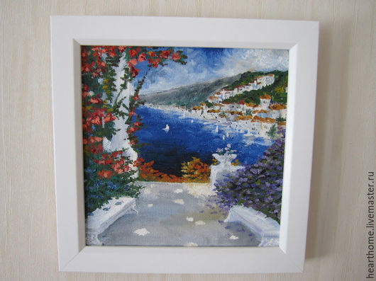 Пейзаж ручной работы. Ярмарка Мастеров - ручная работа. Купить Греческий пейзаж. Handmade. Тёмно-синий, Живопись, природа, курорт