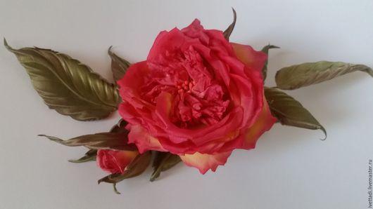 """Броши ручной работы. Ярмарка Мастеров - ручная работа. Купить Брошь """"Роза с бутоном"""". Handmade. Ярко-красный, брошь из ткани"""
