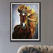 Картины ручной работы. Ярмарка Мастеров - ручная работа Огненная гнедая, картина маслом на холсте , 50x60см., конь. Handmade.