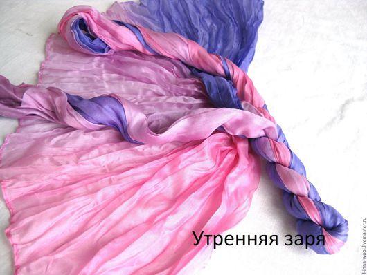 сиреневый с розовым натуральный шелк 100% шелк эксцельсиор Палантин шелковый  купить шелковый шарф  шелковый шарф   жатый шелк  ткань для нуновойлока ткань для валяния шелк для валяния