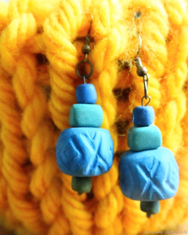 Серьги: Голубые серьги в стиле бохо, Серьги классические, Санкт-Петербург,  Фото №1