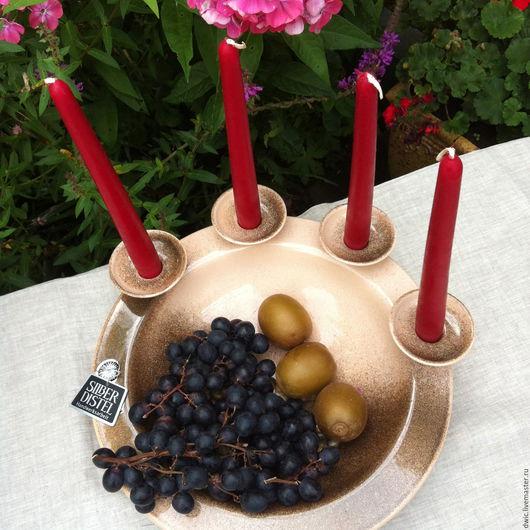 """Винтажная посуда. Ярмарка Мастеров - ручная работа. Купить Керамическое декоративное блюдо для фруктов """"Silberdistel"""" (Германия). Handmade. Керамика, подарок"""