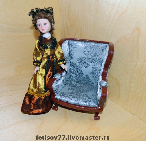 Кукольный дом ручной работы. Ярмарка Мастеров - ручная работа. Купить Кукольное кресло. Handmade. Кукольная миниатюра, кукольная мебель
