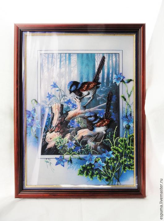 """Животные ручной работы. Ярмарка Мастеров - ручная работа. Купить Картина вышитая бисером """"В глубине леса"""". Handmade. Разноцветный"""