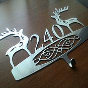 """Для дома и интерьера ручной работы. Ярмарка Мастеров - ручная работа Номер на входную дверь """"Christmas deers"""". Handmade."""