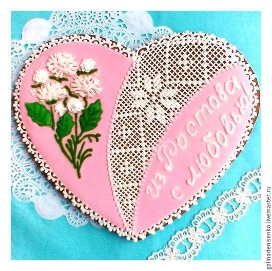 Кулинарные сувениры ручной работы. Ярмарка Мастеров - ручная работа. Купить Пряник Сердце с букетом хризантем. Handmade. Бледно-розовый