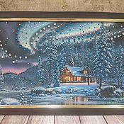 """Картины и панно ручной работы. Ярмарка Мастеров - ручная работа Картина со стразами """"Зимний пейзаж"""". Handmade."""