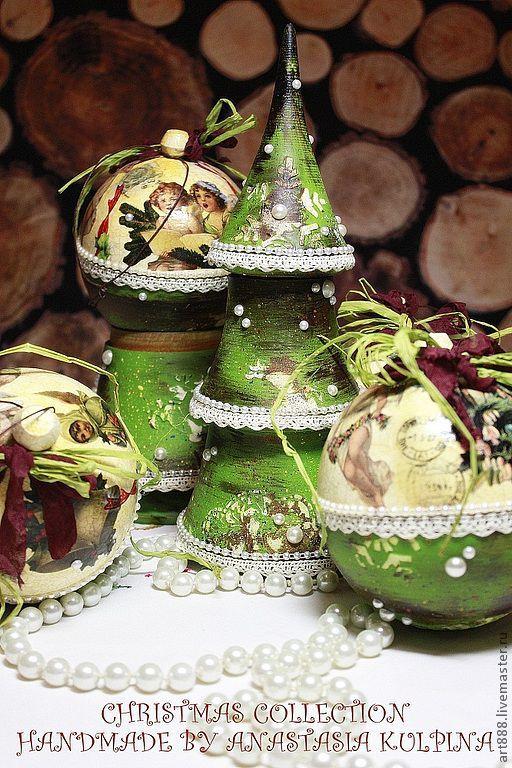 Новый год 2017 ручной работы. Ярмарка Мастеров - ручная работа. Купить Новогодний набор. Handmade. Зеленый, шар, кружево хлопок