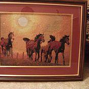 """Картины и панно ручной работы. Ярмарка Мастеров - ручная работа Картина """"Табун на закате"""". Handmade."""