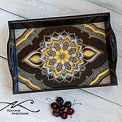 Для дома и интерьера handmade. Livemaster - original item Tray wood dot painting Luxury gold A4. Handmade.