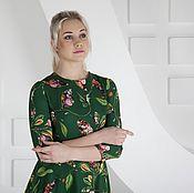Одежда ручной работы. Ярмарка Мастеров - ручная работа Платье зеленое с цветочным рисунком. Handmade.