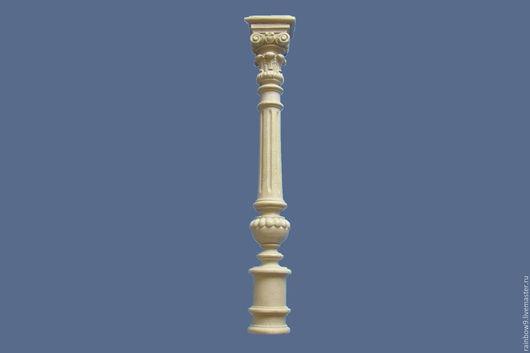 Мебельная резная декоративная плоская балясина и полубалясина (полуколонна) из пластика, полимеров, полиуретана