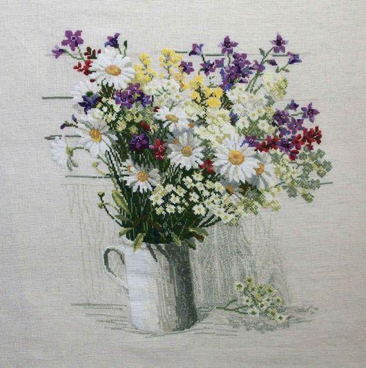 Натюрморт ручной работы. Ярмарка Мастеров - ручная работа. Купить Букет полевых цветов. Handmade. Канва, лён