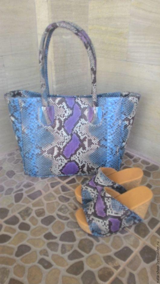 Женские сумки ручной работы. Ярмарка Мастеров - ручная работа. Купить комплект из кожи питона. Handmade. Комбинированный, сабо
