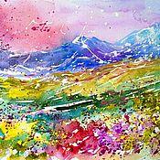 Картины и панно handmade. Livemaster - original item Watercolor Valley Of Flowers India. Handmade.