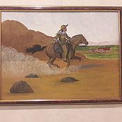 """Картины и панно ручной работы. Ярмарка Мастеров - ручная работа Картина акриловым красками """"Всадник"""" конь человек. Handmade."""