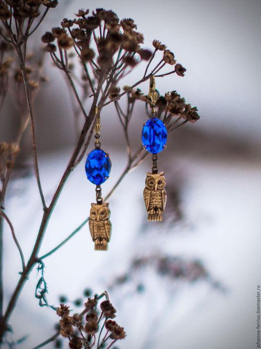"""Серьги ручной работы. Ярмарка Мастеров - ручная работа. Купить Серьги винтажные латунные """"Ночная синева"""" с совами. Handmade. Синий"""