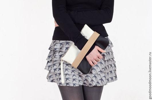 """Женские сумки ручной работы. Ярмарка Мастеров - ручная работа. Купить Черно-белый клатч """"CarryMe"""", сумочка через плечо. Handmade."""