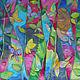 """Шали, палантины ручной работы. Заказать """"Бабочки в тропическом лесу"""" шелковый платок с рисунком батик. Батик Роспись Шелковые штучки. Ярмарка Мастеров."""