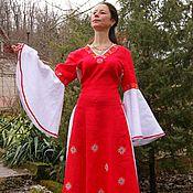 Одежда ручной работы. Ярмарка Мастеров - ручная работа Платье из льна со шнуровкой с вышивкой Звезда Лады. Handmade.