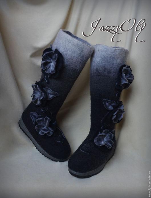 """Обувь ручной работы. Ярмарка Мастеров - ручная работа. Купить Валенки """"Теплый монохром"""". Handmade. Чёрно-белый, дизайнерские валенки"""