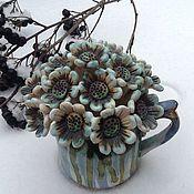 Для дома и интерьера ручной работы. Ярмарка Мастеров - ручная работа Ромашки на снегу Керамический букетик в кувшинчике Украшение интерьера. Handmade.