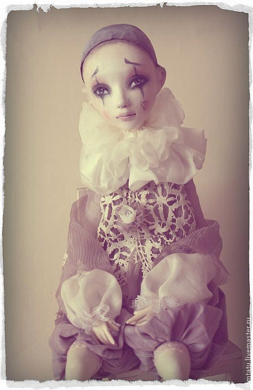 Коллекционные куклы ручной работы. Ярмарка Мастеров - ручная работа. Купить Пьеро. Handmade. Бледно-сиреневый, самоотвердевающий пластик