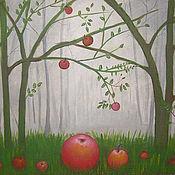 Картины и панно ручной работы. Ярмарка Мастеров - ручная работа Картина   Яблоки  на  траве  акрил  яблоки красный. Handmade.