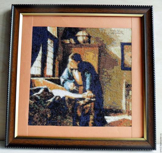 Репродукции ручной работы. Ярмарка Мастеров - ручная работа. Купить Географ, вышивка по картине Вермеера, вышитая картина для мужчины. Handmade.