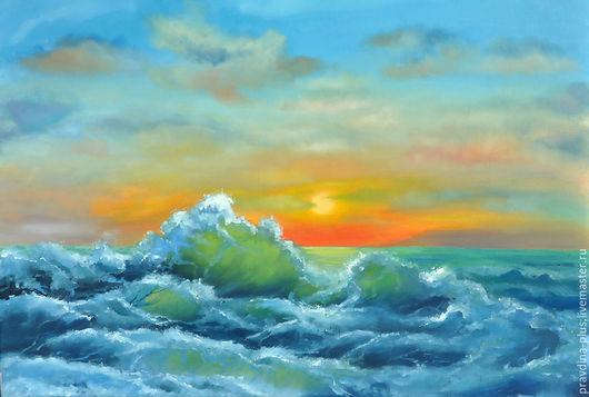 """Пейзаж ручной работы. Ярмарка Мастеров - ручная работа. Купить Картина маслом """"Оранжевый закат"""". Handmade. Синий, волны"""