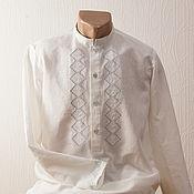 Рубашки ручной работы. Ярмарка Мастеров - ручная работа Белый лен. Handmade.
