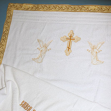 Works for children handmade. Livemaster - original item Baptismal towel(large). Handmade.