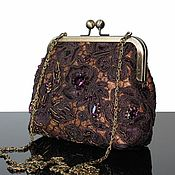 Сумки и аксессуары handmade. Livemaster - original item Evening bag, brown handbag lace, handbag on the way out, clutch bag. Handmade.