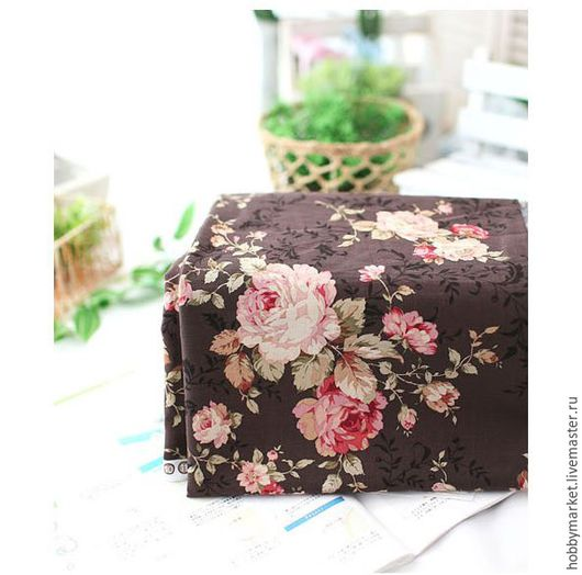 Шитье ручной работы. Ярмарка Мастеров - ручная работа. Купить Ткань хлопок Розы 15 см (коричневый). Handmade.