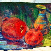 """Сумки и аксессуары ручной работы. Ярмарка Мастеров - ручная работа Клатч валяный """"Натюрморт с гранатом"""". Handmade."""